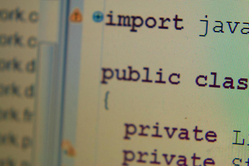 Java code on screen